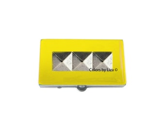 Studs Metal Pill Box Hand Painted Enamel Enamel in Yellow Opaque Geometric Inspired Pill Case with Personalized and Color Options
