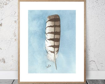 Feather Watercolor Feather Wall Art Watercolor Painting Brown Feather Watercolor Painting White Feather Watercolor Painting Art Prints