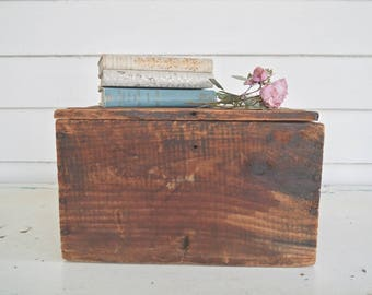 Antique Wood Box with Hinged Lid