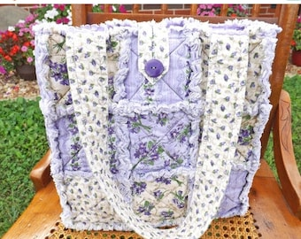 On Sale Purple Flowers Rag Quilt Tote - Floral Tote - Purple Tote - Purple Rag Tote - Flowers Rag Tote - Handbag - Gift for Her
