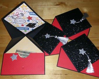 Graduation, School, Card, 3-D, Glitter, Fancy Fold, Pop Up, Tassel