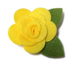 Small Yellow Rose Dog Collar Flower Removable