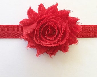 Red headband flower headband baby headband newborn headband girls headband toddler headband birthday headband baby girl headband fringe