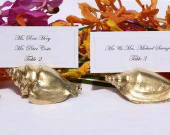 Beach Wedding + Assorted Gold Shell Place Card Holders (Set of 100)