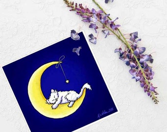 White Cat Art Print Kitten Moon Star