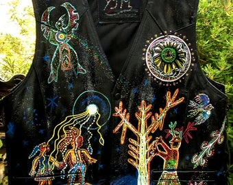 Shamanic jacket genuine leather and very thick decorated entirely by hand Huchiols, Aztec patterns, cards.