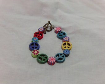 Peace and Flowers bracelet
