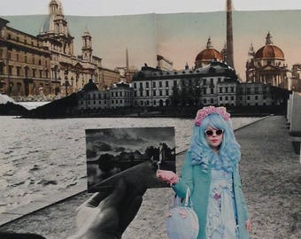 my european vacation, collage hand cut paper