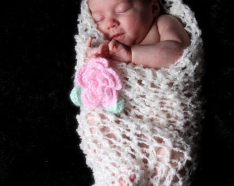 Baby Girl - Baby Cocoon - Gorgeous Textured Lacy Newborn Baby Cocoon Ivory with Pink Flower Clip and Leaves