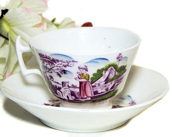 Antique Early 19th Century Staffordshire Pink Luster Cup and Saucer Child and Dog
