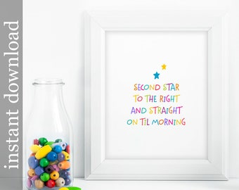 Peter Pan Quote, nursery printable, nursery wall art, nursery decor, baby room decor, children's art, colorful print, colorful nursery