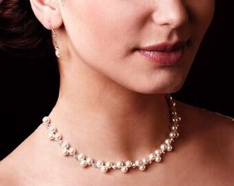 Pearl jewellery set, choker necklace, bracelet, earrings, Swarovski Pearl Crystal Silver wedding jewellery mother  bride Ivory  crea