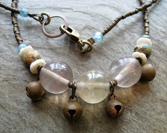 Tribal Necklace, Fluorite Necklace with brass bells, aqua terra jasper, kyanite, and bone (matching earrings also available)