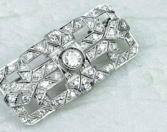 Antique Art Deco Platinum and Diamond Pin Brooch