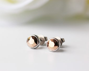 Small Rose Gold Swarovski Crystal Titanium Stud Silver Bezel Simple Nickel Free Earrings