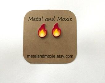 Fire Emoji Stud Earrings, Blaze, Campfire, Under 10 Dollars, Jewelry Gift