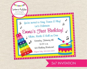 Music Birthday Invitation, Music Birthday, Music Printables, Music Birthday Decorations, Xylophone Invitation, Lauren Haddox Designs