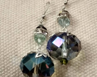 Large Faceted Crystal Earrings, Iridescent, Greens, Swarovski, Rhinestones, Silver Wires