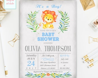 Lion Baby Shower Invitation, It's a Boy Baby Shower Invitations, Jungle Safari Baby Shower Invite,  Baby Lion Safari Printable Invites