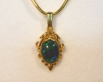 Vintage style Gold Plate Pendant. Synthetic Opal Triplet 8x6mm Oval. item 40004.