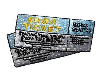 ID 8562 Pair of Show Tickets Patch Movie Theatre Embroidered Iron On Applique
