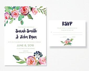 Pink Floral Wedding Invitation & RSVP Card - PDF