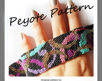 Party Waves Bracelet - Waves Peyote Pattern Bracelet - For Personal Use Only PDF Tutorial , easy 3 drop peyote tutorial , wide cuff bracelet