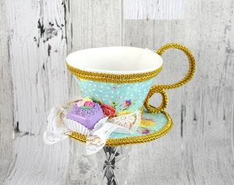 Aqua and Pink Floral and Gold with Petit Four Tea Cup Fascinator Hat, Alice in Wonderland Mad Hatter Tea Party, Derby Hat
