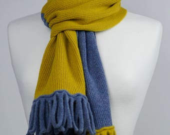 Denim Blue and Mustard 2 colour Lambswool Scarf