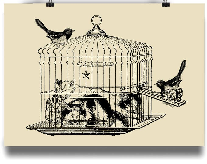 THE BIRDCAGE. Ink Altered Vintage Illustration Original Art Print. Available in sizes A4 - A1. Printed on 220gsm semi-gloss paper.