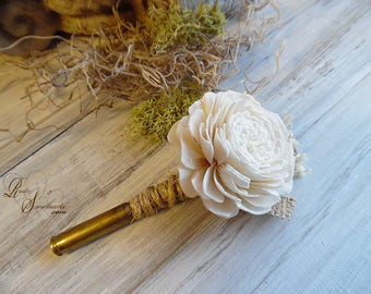 Ships in 5 days ~ Rustic Bullet Casing Boutonniere with Ivory Sola Flower