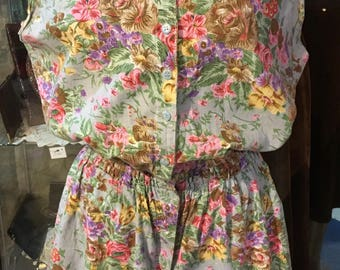 1980' floral rompers. Size S.