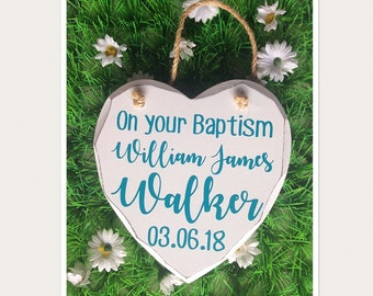 Personalised Baptism Hanging Heart Gift