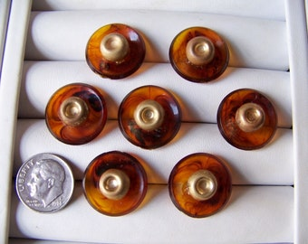 Set of 7 Shabby Vintage Plastic Tortoise Shell Shank Buttons 3/4 Inch Craft Buttons Plastic & Metal Buttons