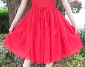 VINTAGE RED DRESS 1950's Lace Size Small