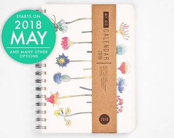 2018 2019 planner - Mother's day gift - Mom gift - Floral flower A5 Diary!