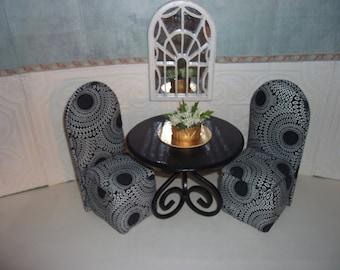 BARBIE Dinning Room Set Table and Two Upholstered Chairs Black & White  Patterned  Scaled for Barbie Blythe Monster High Floral Arrangement