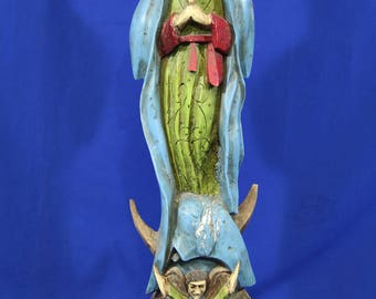 Vinatge 1970s Lady of Guadalupe Virgin Mary Mexican Folk Art Wood Sculpture