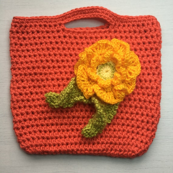 Crochet Flower Tote Pattern Pdf Pattern Tutorial Childs Bag From