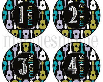 Monthly Baby Boy Stickers Baby Month Stickers, Monthly Bodysuit Stickers Michael Miller Groovy Guitars (Gideon)