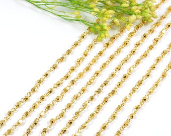 Rosary Chain, 2.5mm, Diamond Cut Chain, Rosary Necklace Finding, Rosary Bracelet Finding, Gold Chain, Tarnish Resist, RETAIL - 5 FT/ order