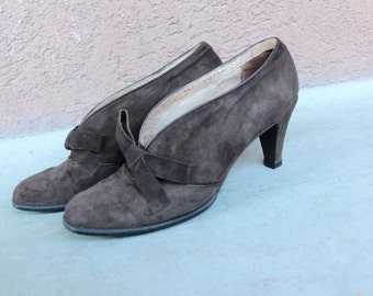 1940's Bally Ville Brown Suede Shoes - 40's Bally Suede Winter Pumps - Size 36.5