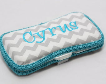 Personalized Wipes Case - Grey Chevron with Turquoise