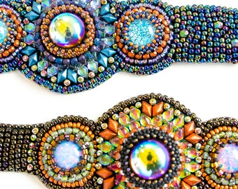Marrakesh Bracelet KIT ONLY bead embroidery Blue, Copper, Purple Bead and Button Class Kit