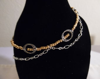 Rose Goldtone Beaded Anklet with Silver Chain And Accents