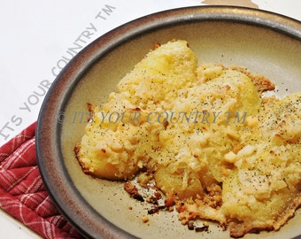Parmesan Cheese Potatoes Recipe, PDF File Digital Download for Baked Potato Side Dish for Breakfast Brunch Dinner itsyourcountry