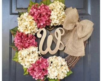 SPRING Wreath for Door, SPRING Door Decor with Cream and Cranberry Pink Hydrangeas