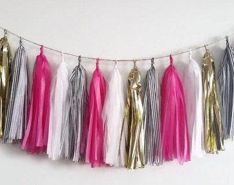 Black and pink tassel garland,gold tassel garland,Pink fringe,Pink tassel,Birthday garland,Bachelorette garland, party garland,black,white