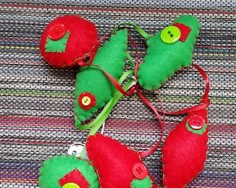 Set of 6 felt ornaments