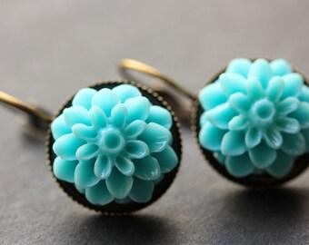 Aqua Blue Dahlia Flower Earrings. French Hook Earrings. Aqua Blue Flower Earrings. Lever Back Earrings. Handmade Jewelry.